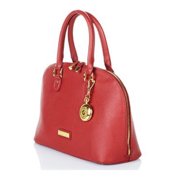 Joy Mangano Bags   Luxe Genuine Leather Red Domed Satchel   Poshmark 7627a247e2